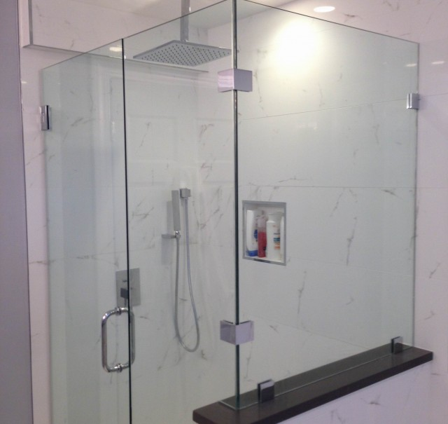 Contemporary Glass Shower and Marble Tile
